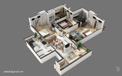 Covert your 2D DWG floor plan Into 3D isometric floor plan