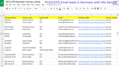 Provide 1000 CEO/CFO active email leads with info