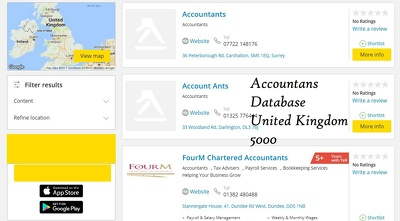 Provide you 5000 b2b email database of accountants any uk city