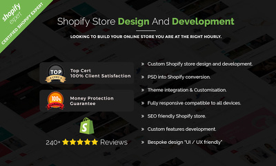 design and build Shopify Mobile & SEO friendly store.