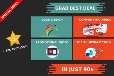 Design logo,Brand stationary,Promo videos,FB Pics in just 90$