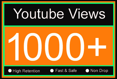 1,000 YouTube Views with High Retention, Non Drop, Fast & Safe