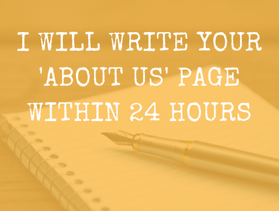 Write your 'about us' page within 24 hours
