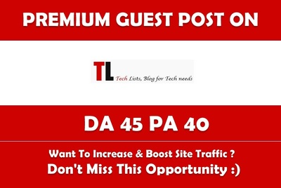 Write & Publish Guest Post on Tlists.com Premium Dofollow Link