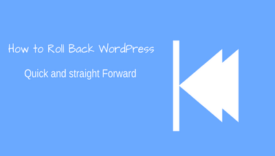 Roll Back WordPress updates to an earlier version.