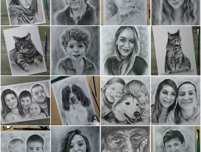Hand drawing - realistic portraits - oil on heavy weight paper