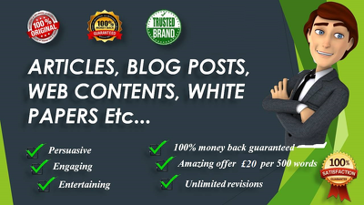 Write original and authentic 500 words SEO articles, blog posts