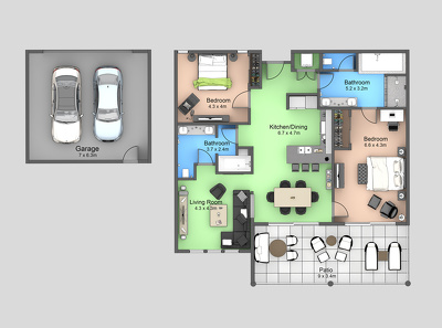 Make 3D/2D floorplan from architectural plan or just a sketch