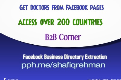 Provide you Doctors , Clinics from FACEBOOK Business pages