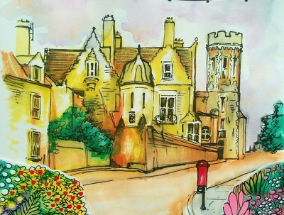 Create a full bloom colour hand drawn scene of your choice.