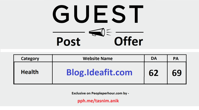 Guest post Ideafit.com (DA 62, PA 69) health & fitness blog