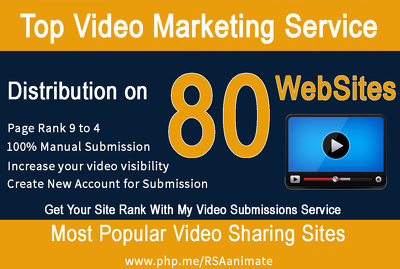 Make Manual Video Submission On Top 80 Video Sharing Sites