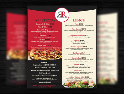 Provide you professional prepared for print Restaurant Menu