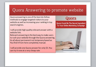 Write high quality quora answer with backlink to promote website