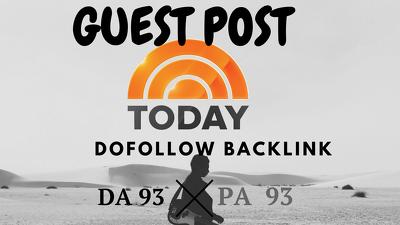 DOFOLLOW Guest Post in TODAY.COM DA 93