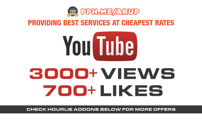 Add 3000+ youtube views and 700+ likes for youtube SEO Ranking