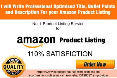 Write SEO Optimised Title, Description for Amazon Listing