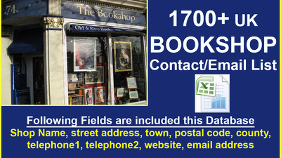 Make for you 1700 plus UK BOOKSHOP contact/email database