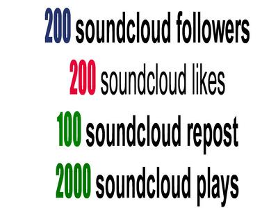 Send you 200 soundcloud follow 200 like 100 repost 50 comment