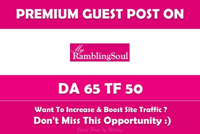 Guest Post on Rambling Soul. Ramblingsoul.com - DA 65, TF 50
