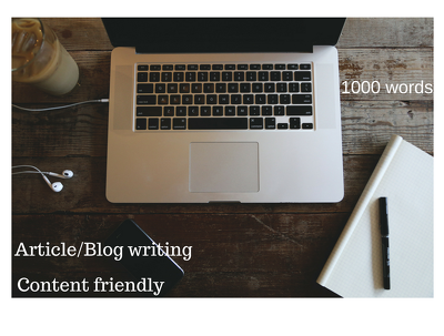Write any blog or article of 1000 words delivered within a day
