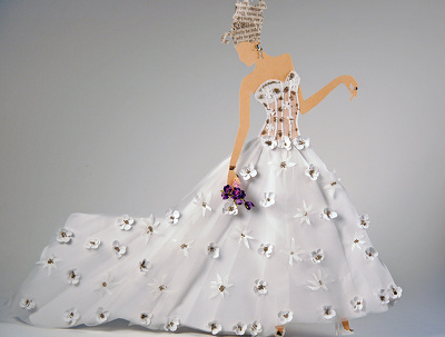 Recreate your wedding dress as a paper doll bride