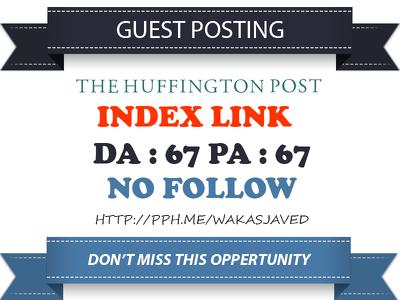 Publish Guest post on Huffingtonpost DA 97, TF 83