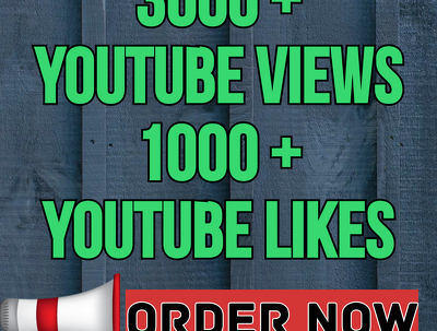 Add 3000 Real Youtube Views and 1000 Youtube Likes to your Video