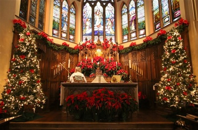 Christmas decoration interior design church