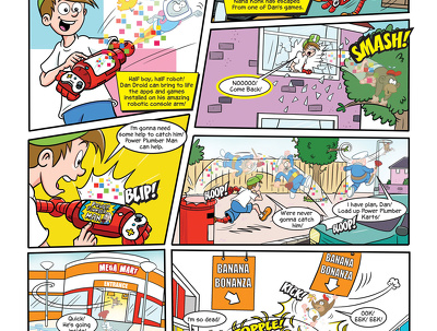 Create a full page comic strip featuring you and your family