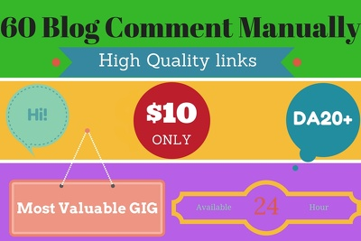 Provide 60 high quality blog comment manually