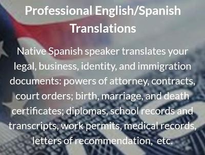 English-Spanish legal translations (500 words - 2 business days)