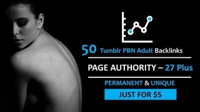 Built 50 Permanent PBN Tumblr Adult Backlinks PA 27 Plus