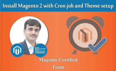 Install magento 1 and magento 2 with cron job and theme setup