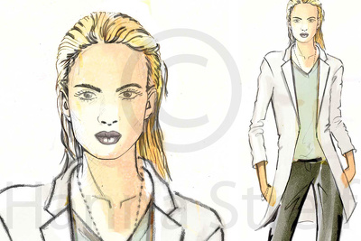 Draw an outstanding fashion illustration, mood of your outfit