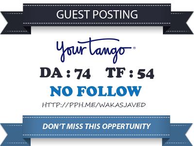 Write & publish a guest post on yourtango.com  (PA 78, DA 74)