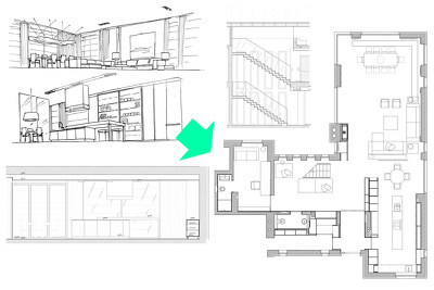 Draw floor plan from the interior design perspective drawings