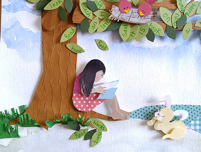 Illustrate a page of your children's book in paper collage style