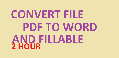 Do all types convert file PDF to word or fillable PDF 2 hours
