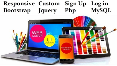 Create resaponsive website with sign up login contact form