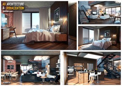 Provide a 3d interior visualisation of a small size project