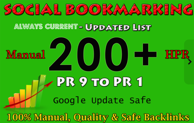 200 Manual Social Bookmarking Submissions PR 9 to 1