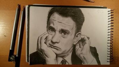 Draw a realistic b&W portrait