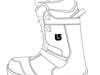 Illustrate CAD drawing for 1 footwear design in side view