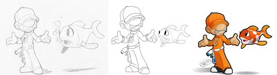 Create a Vector Cartoon from Pencil Sketch to Final Render