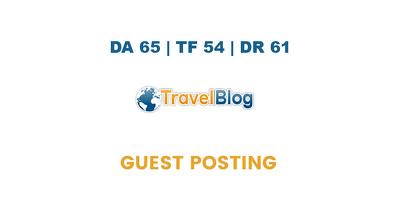 Publish a guest post on Travel Blog - DA65, TF54, DR61