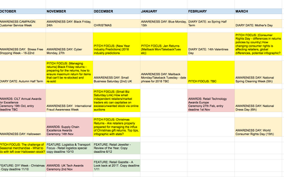 Create a 12 month calendar of upcoming awareness days/months