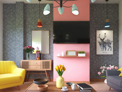 Do interior design for home space with HQ 3d rendering