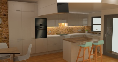 Produce an HD 3D kitchen design from an existing 2D plan.