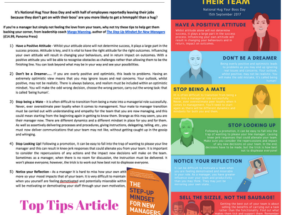 Create a unique 'top tips' article plus supporting infographic